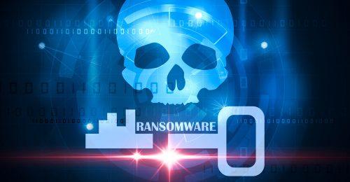Ransomware skull and crossbones