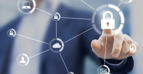 Cybersecurity of network of connected devices and personal data security, concept on virtual interface with consultant in background