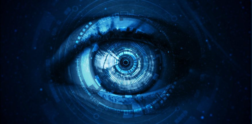 Futuristic digital technology screen on the eye