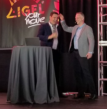 Matthias Haas CTO of Igel and Scott Manchester of Microsoft high-5 b