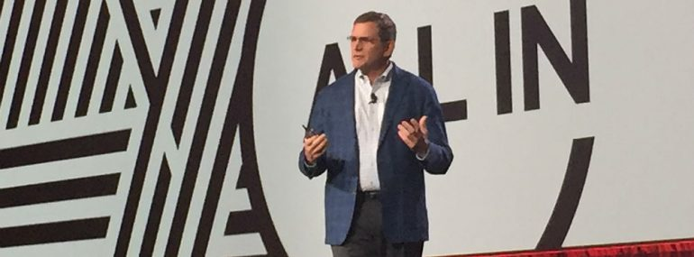 Avaya's Jim Chirico on stage at Avaya Engage 2020 in Phoenix, Feb. 3.
