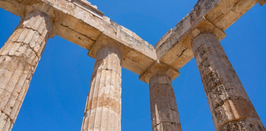 Four pillars in ruins