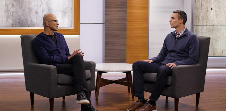Microsoft CEO Satya Nadella (left) and corporate vice president Jared Spataro (right) hold a virtual press briefing to discuss the impact of COVID-19.