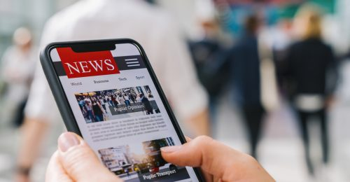 News, headlines on mobile device