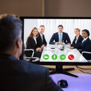 Video conferencing with associates