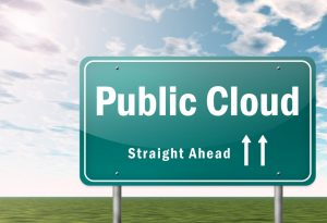 Public cloud ahead road sign for Google Cloud Platform