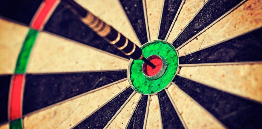 Bulls eye on dartboard