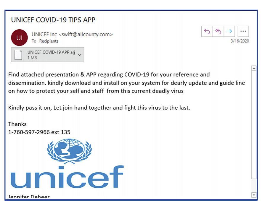 Fake Unicef Email