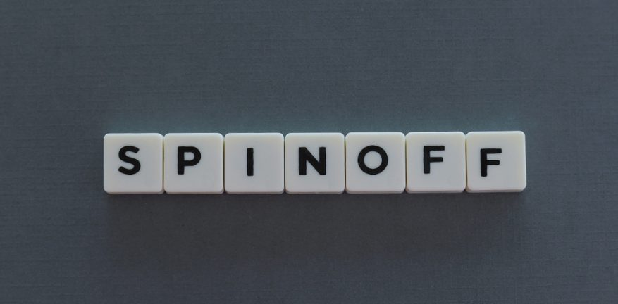 Spinoff spelled out in blocks