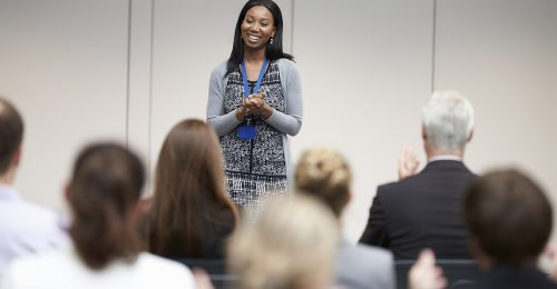 African American Speaker at Event