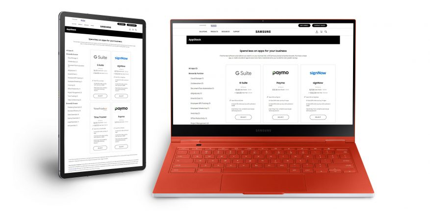 Samsung AppStack SaaS marketplace on Chromebook