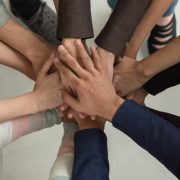 Business hands together, diversity