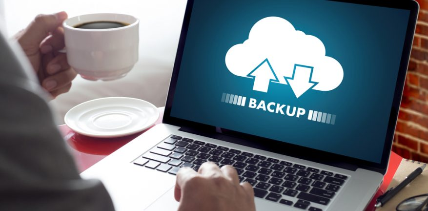 Cloud backup on a laptop screen