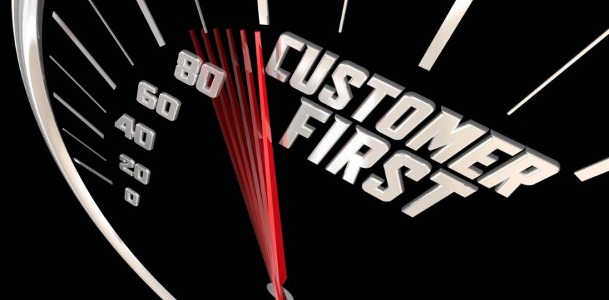 Customer first on speedometer