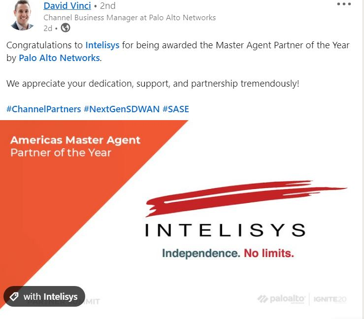 Palo Alto Intelisys award