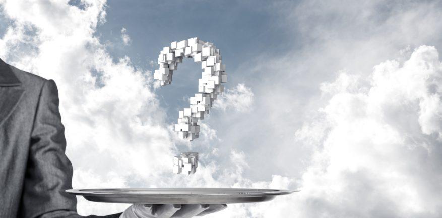 Waiter serving up a cloud question mark