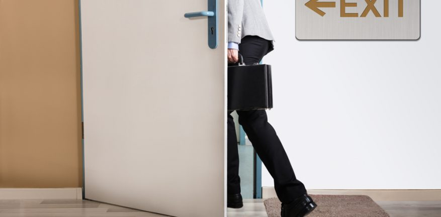 Employee-person-man going out exit door