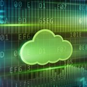 A green cloud with data background