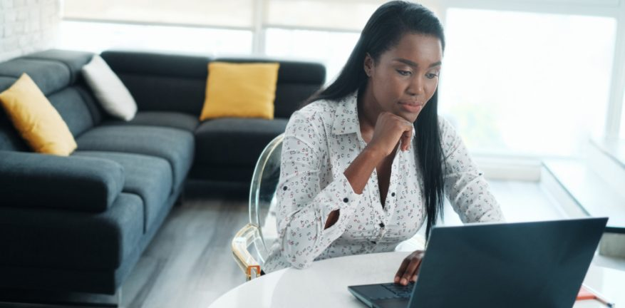 Telecommuter using laptop