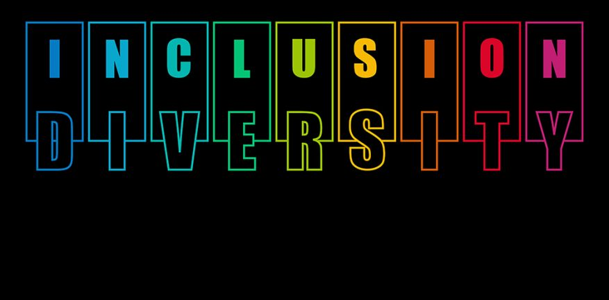 diversity inclusion in colored letters