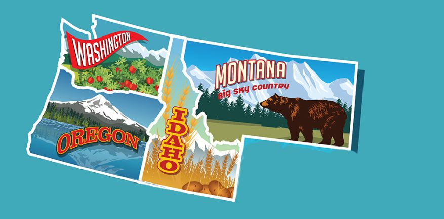 Illustrated pictorial map of Northwest United States. Includes Washington, Oregon, Idaho, Montana,