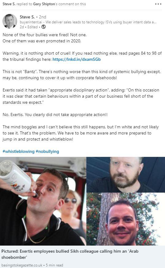 Exertis Bullying Case LinkedIn