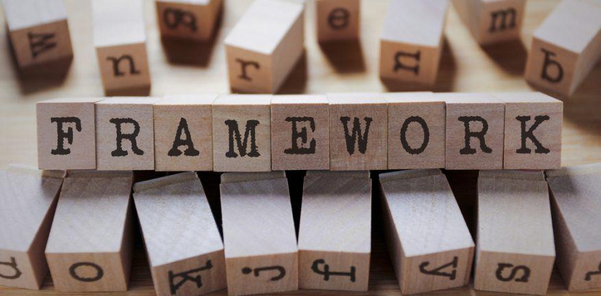 Framework spelled out in blocks