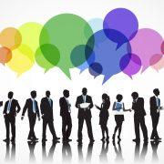 Businesspeople speech bubbles